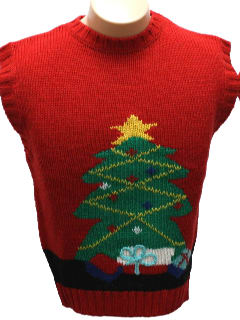 1980's Womens or Girls Pullover Ugly Christmas Sweater Vest