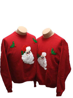1980's Unisex Matching Set of Ugly Christmas Sweatshirt