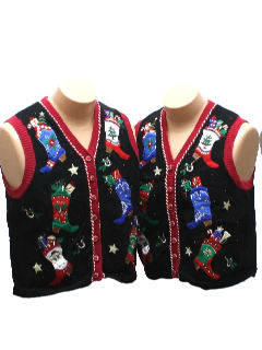 1980's Unisex Matching Pair of Ugly Christmas Sweater Vests
