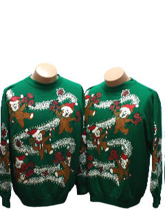 1980's Unisex Matching Set of two Bear-riffic Ugly Christmas Sweatshirts