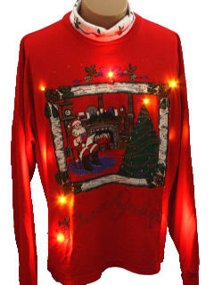 1980's Mens Lightup Ugly Christmas Sweatshirt