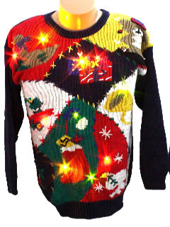 1980's Womens Light up Ugly Christmas Sweater