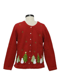1980's Womens Ugly Christmas Sweater-look Sweatshirt