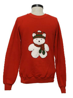 1980's Womens Minimalist Bear-riffic Ugly Christmas Sweatshirt
