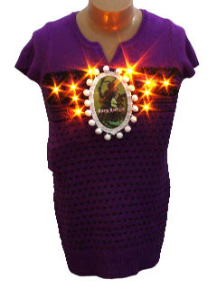 1980's Womens/Girls Ugly Lightup Krampus Christmas Sweater Dress