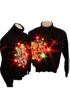 1980's Womens Matching Pair of Ugly Lightup Krampus Christmas Sweaters