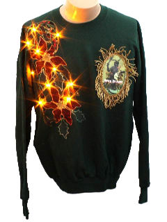 1980's Unisex Ugly Lightup Krampus Christmas Sweatshirt