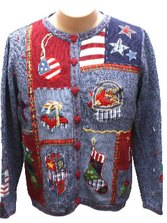 1980's Womens Patriotic Kitschy Ugly Christmas Sweater