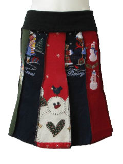 1980's Womens Ugly Christmas Sweatshirt Skirt