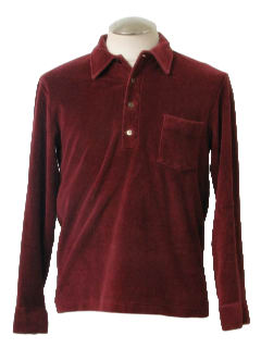 1980's Mens Mod Velour Shirt