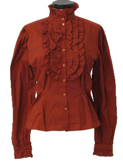 1970's Womens Frilly Ruffled Shirt