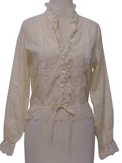 1970's Womens Frilly Lacey Ruffle Gunne Sax Style Shirt