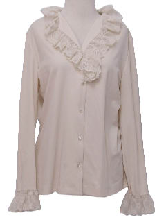 1970's Womens Frilly Lacey Secretary Shirt