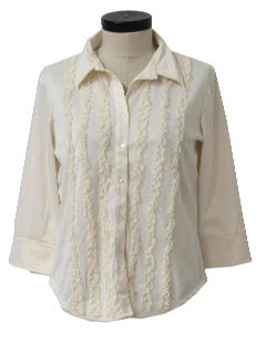 1990's Womens Ruffled Shirt