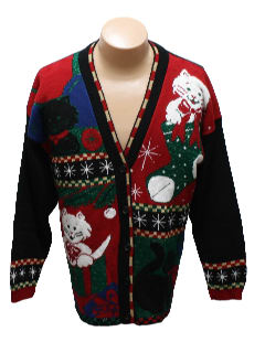 1980's Unisex Cat-Tastic Ugly Christmas Cardigan Sweater