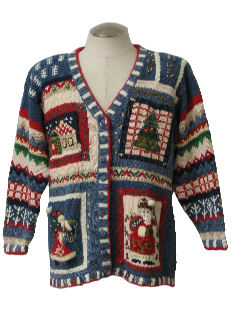 1990's Womens Ugly Christmas Cardigan Sweater