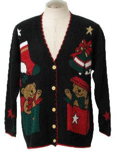 1980's Unisex Bear-riffic Ugly Christmas Cardigan Sweater