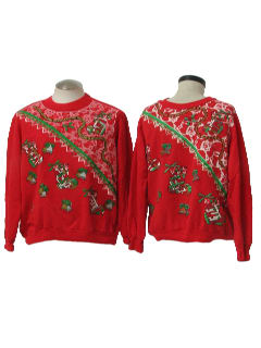 1980's Unisex Matching Pair of Two Ugly Christmas Sweatshirts