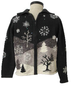 1980's Womens Monochrome Ugly Christmas Sweater