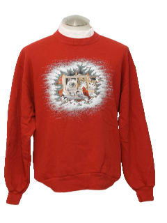 1980's Unisex Cat Tastic Ugly Christmas Sweatshirt