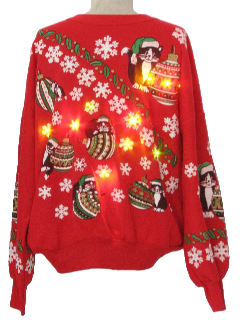 1980's Unisex Cat-Tastic Lightup Ugly Christmas Sweatshirt