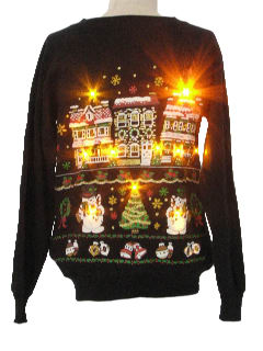 1980's Womens Lightup Ugly Christmas Sweatshirt