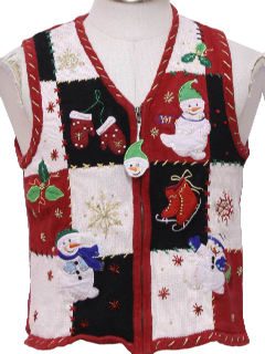 1980's Womens/Girls Ugly Christmas Sweater Vest