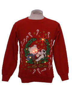 1980's Womens Bear-riffic Lightup Ugly Christmas Sweatshirt