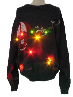 1980's Mens Lightup Golfing Santa Ugly Christmas Sweater