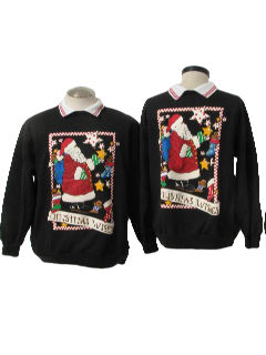 1980's Unisex Matching Pair of Ugly Christmas Sweatshirts