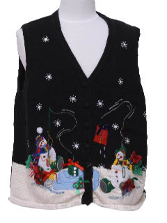 1980's Womens or Girls Fishing Snowmen Ugly Christmas Sweater Vest