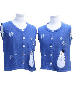 1980's Womens Matching Pair of Two Ugly Christmas Sweater Vests