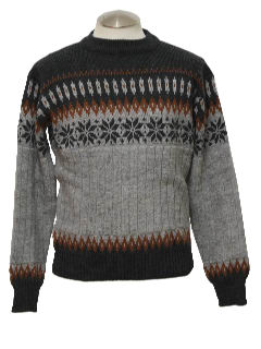 1990's Mens Wicked 90s Snowflake Ski Sweater