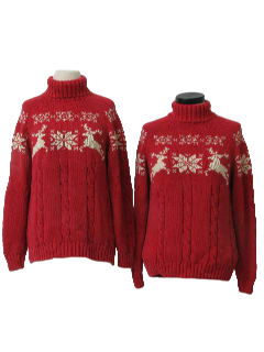 1990's Womens Matching Pair of Two Reindeer and Snowflake Ski Sweaters