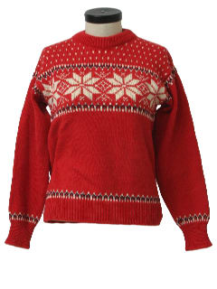 1960's Womens Mod Snowflake Ski Sweater