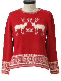 1990's Womens Reindeer Ski Sweater