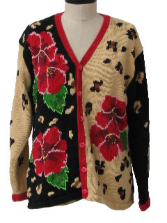 1990's Womens Cheesy Ugly Cardigan Sweater