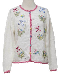 1990's Womens Kitschy Ugly Easter Sweater