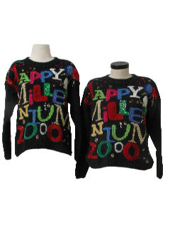1990's Womens Matching Pair of Two After Christmas Ugly New Years Sweaters