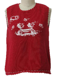 1990's Womens Cheesy Ugly Tropical Sweater Vest