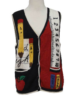 1990's Womens Kitchy Ugly Teacher Sweater Vest