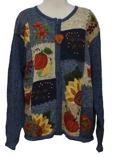 1990's Womens Cheesy Kitschy Fall or Halloween Ugly Sweater