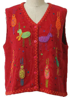 1990's Womens Cheesy Reindeer Ugly Sweater Vest