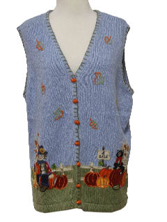 1990's Unisex Kitschy Ugly Fall or Halloween Sweater Vest