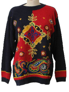 1990's Womens Wicked 90s Gaudy Kitschy  Ugly Cocktail Sweater