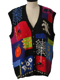 1990's Unisex Cheesy Ugly Halloween Sweater Vest