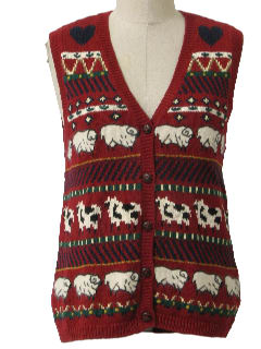 1990's Womens  Kitschy Ugly Farm Sweater Vest