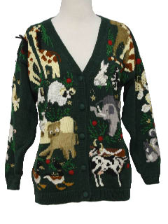 1990's Womens Kitschy Ugly Noahs Ark of Animals Cardigan Sweater