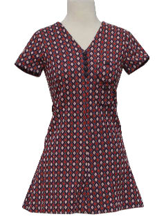 1970's Womens/Girls Brady Bunch Style Mod Mini Knit Dress