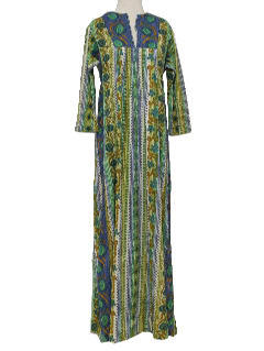 1970's Womens Hawaiian Lounge Maxi Dress